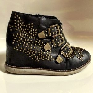 JEFFREY CAMPBELL Stud Leather Wedge Sneaker Boots
