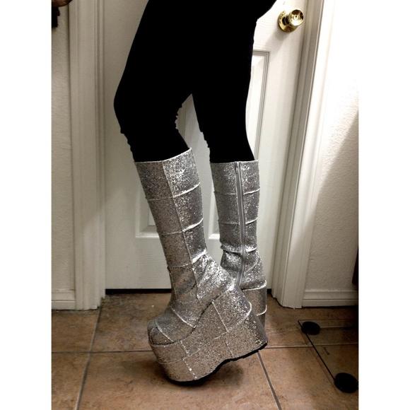db5a0e258a6 Demonia Boots - Demonia Silver Glitter Platforms