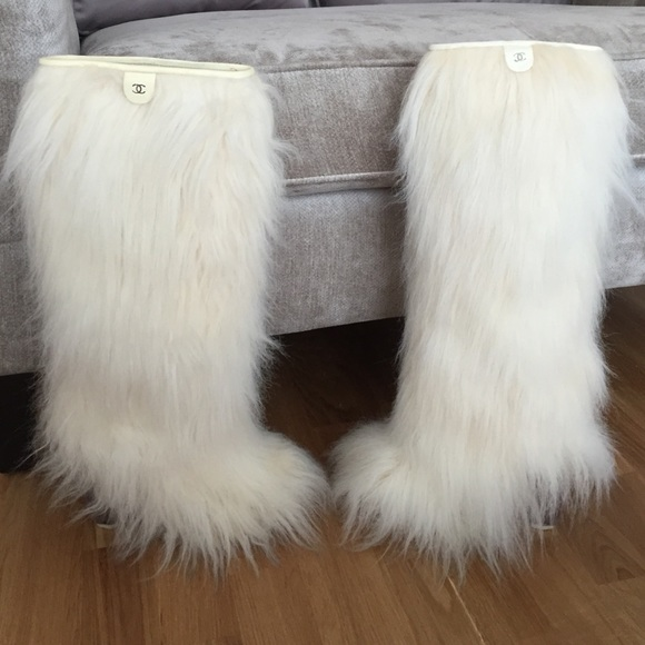 Chanel Knee High Fur Boots