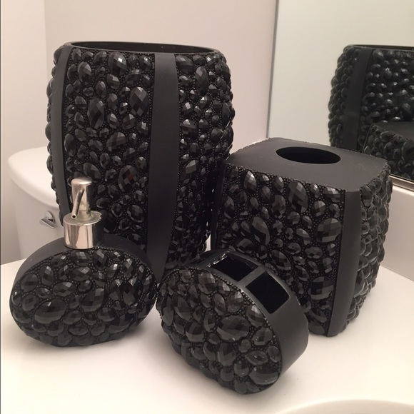 off bed bath and beyond other  black jeweled bathroom set,