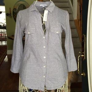 ⭐️SALE⭐️ NWT James Perse striped button up shirt