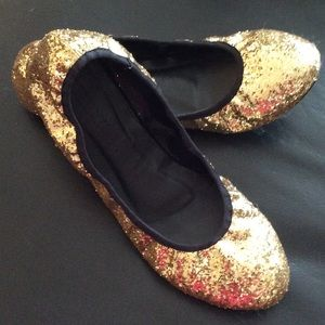 ✨SALE-Gold SPARKLE Ballet Flats 9.5✨