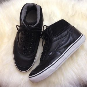 Black Leather Hi-Top Vans