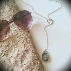 Jewelry - Agate druzzy lariat necklace