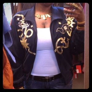 🎉LIKE NEW 🎉 Navy & Gold Nautical Bomber Jacket