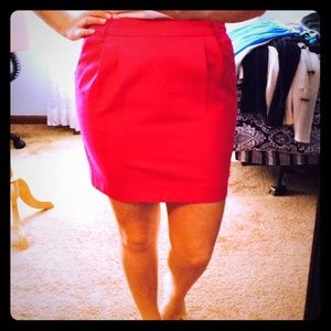 Hot pink fitted chino mini skirt