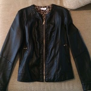 New with tags faux leather zip up jacket! Black