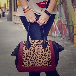 Leopard calf hair winged Handbag