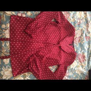 BCBG red peplum and tan half dots blouse. NWT.