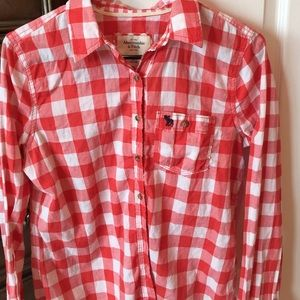 Red White Abercrombie Flannel Button Down Top