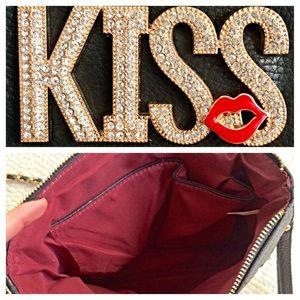 "Bags - Faux Leather Black ""KISS"" Purse/Clutch"