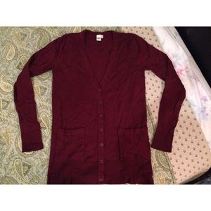 14th & Union Sweaters - 14th & Union Burgundy Stretchy Longline Cardigan S