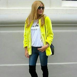 Zara yellow fur coat