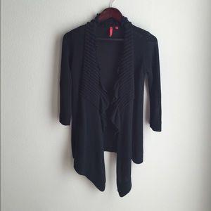 Ruffled Black Long Cardigan