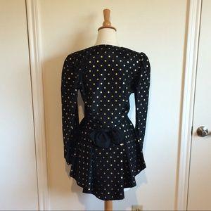 Jackets & Blazers - Vintage Black Gold Polka Dot Peplum Bustle Blazer