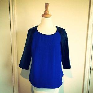 Kissue Tops - Blue Chiffon Raglan Top + Faux Leather Sleeves