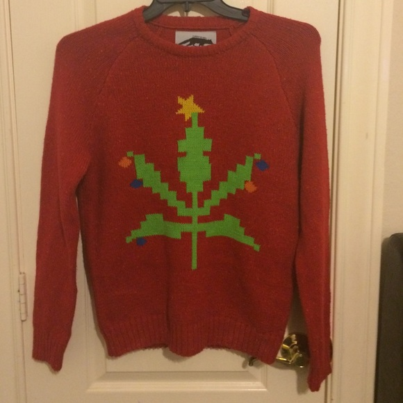 67% off Urban Outfitters Sweaters - Weed Christmas sweater ...