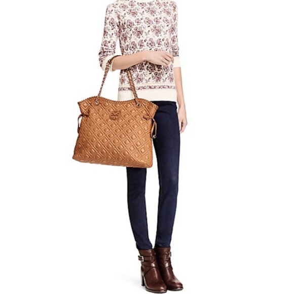 Tory Burch Bags Marion Quilted Slouchy Tote Tiger Eye Poshmark