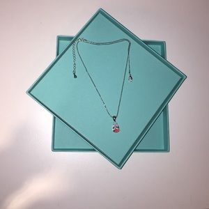 Teardrop Necklace with Gradient Coral Accent