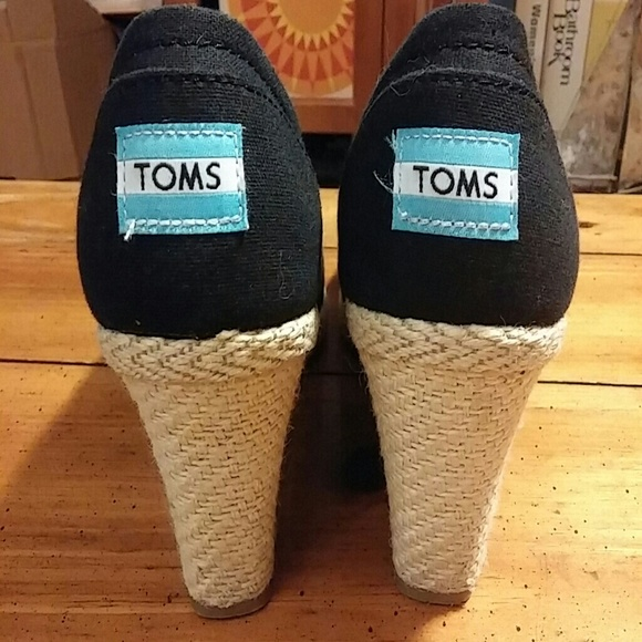 toms toms black canvas peep toe wedges from cordelia s