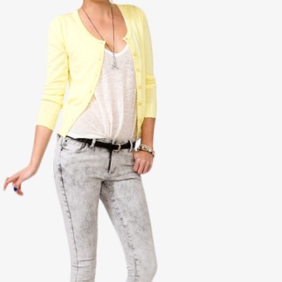 48% off Forever 21 Sweaters - Forever 21 light yellow cardigan ...