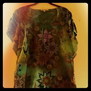Beautiful bluish tropical fairy sleeve top