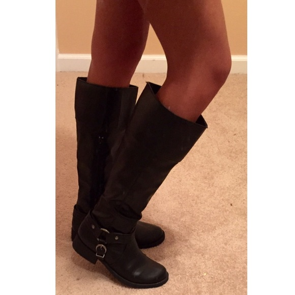 75% off Xhilaration Boots - Black Below-The-Knee Boots from ...