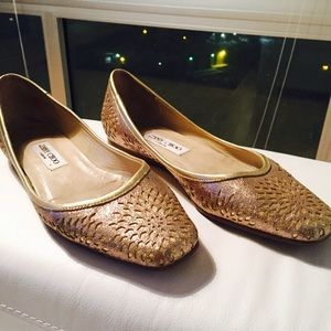 WOW!! Huge Sale!!JIMMY CHOO Gold Glitter Flats