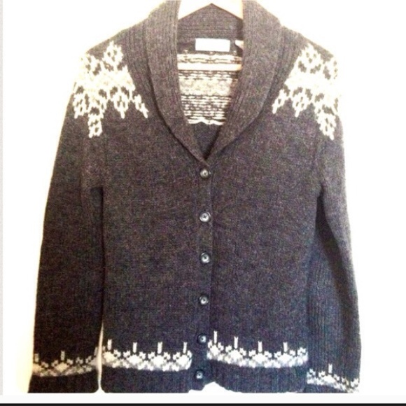 60% off Old Navy Sweaters - Grey Snowflake Winter Button Down ...