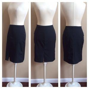 Old Navy Front Kick Slit Black Stretch Skirt, Sz 2