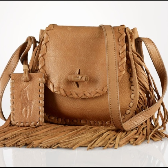 c49a8b7f73cf NWT RALPH LAUREN POLO FRINGED CROSSBODY BAG