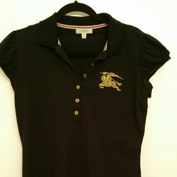 429c535d4faf Burberry Tops - Burberry London black polo shirt with gold logo