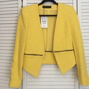 Zara Jackets & Blazers - Zara yellow zip detail blazer.