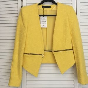 Zara yellow zip detail blazer.