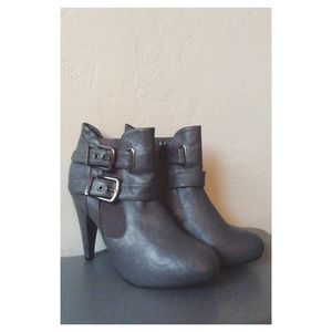 Gray Leather Heeled Ankle Booties