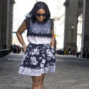 Prabal Gurung Target Black & White Floral Skirt