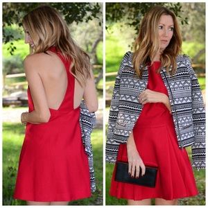 Cameo red folding shadows dress.