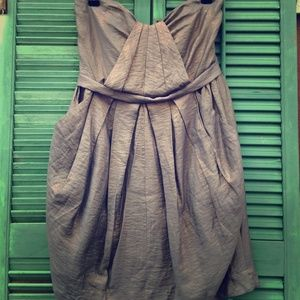 Lush Metallic Strapless Dress With Pockets