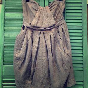 Lush Metallic Strapless Dress With Pockets