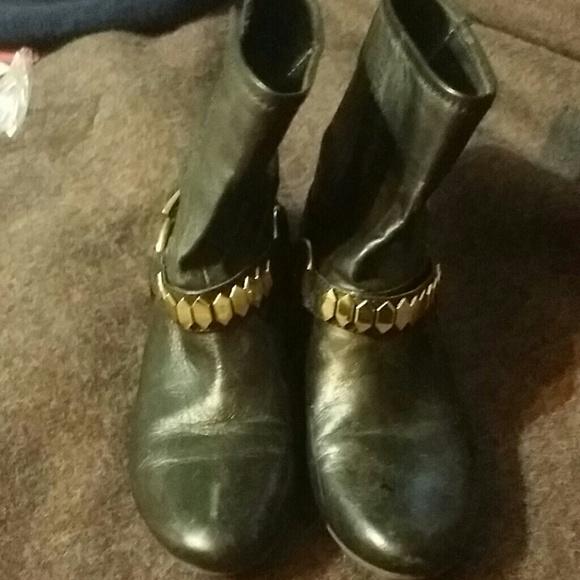 40 boots black boots gold trim from keasha s closet