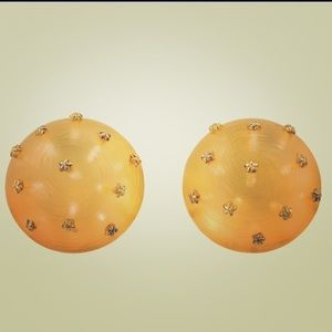 Alexis Bittar Earrings Domed AmberColored Goldtone