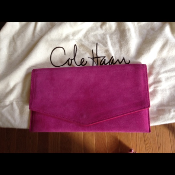 high fashion fashionable patterns large assortment Cole Haan Pink Suede Envelope Clutch Bag