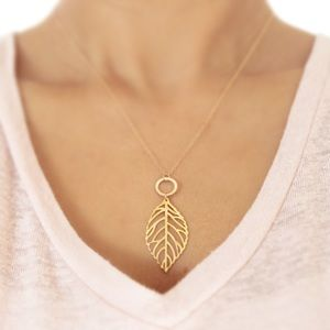 LucyMint Jewelry - Gold Filled Leaf Pendant Necklace
