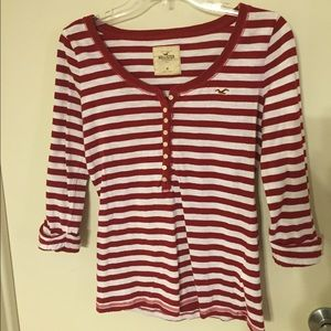 Hollister Tops - Hollister Red Striped 3/4 Sleeve TShirt