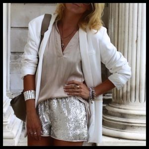 Silver sequins shorts XS NWOT