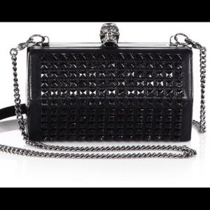 Alexander McQueen Black Studded Faceted Clutch NWT