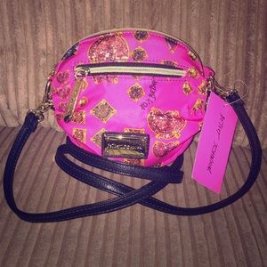 NWT Betsey Johnson Pink Jewel Crossbody!