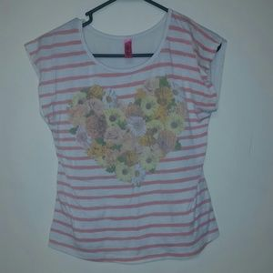 Floral heart striped top