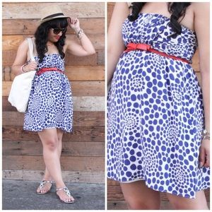 Alice + Olivia Strapless Blue Polka Dot Dress
