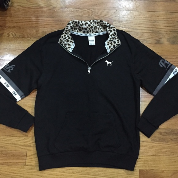 PINK Victoria's Secret - Victoria's Secret PINK Leopard Half Zip ...